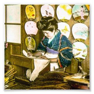 Fãs de papel do fazer no vintage velho Uchiwa de Impressão De Foto