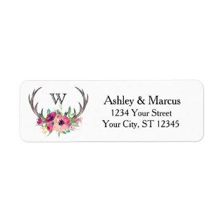 Fascínio floral de Boho dos Antlers rústicos Etiqueta Endereço De Retorno