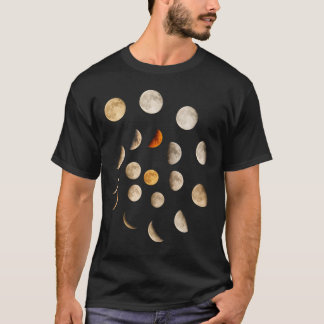Fases da espiral da lua camiseta