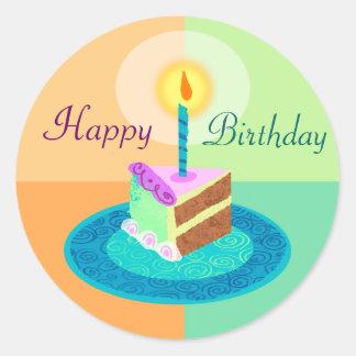 Fatia de etiqueta do bolo de aniversário