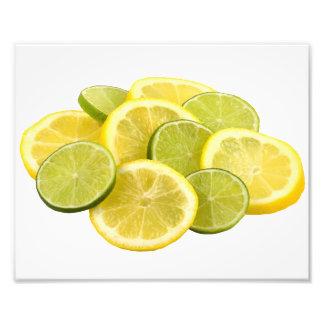 Fatias do limão e do limão impressão de foto