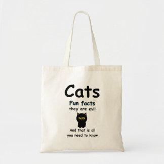 Fatos de divertimento dos gatos são maus sacola tote budget