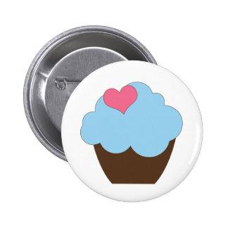 Favor azul do botão do cupcake do aniversário das bóton redondo 5.08cm