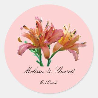 Favor Cor-de-rosa-Alaranjado Sticke do casamento Adesivo