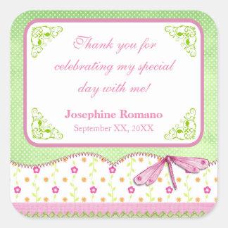 Favor cor-de-rosa e verde do chá de fraldas da adesivo quadrado