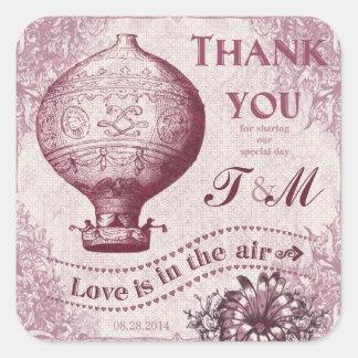 Favor do casamento do balão de ar quente do adesivo quadrado