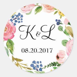 Favor redondo da etiqueta do casamento floral