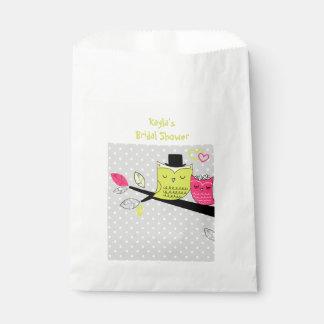 Favor romântico do chá de panela das corujas sacolinha