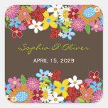 Favores lunáticos do casamento do jardim de flores adesivo quadrado
