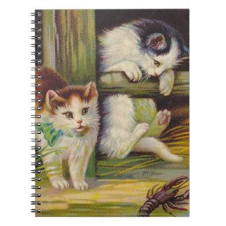 Fazenda das lagostas do jogo dos gatinhos do caderno espiral