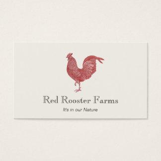 Fazenda vermelha do galo do vintage para cartão de visitas