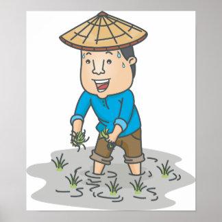 Fazendeiro em um poster do campo do arroz