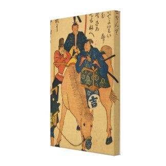 Fazendeiros japoneses com estrangeiro em um cavalo impressão em tela