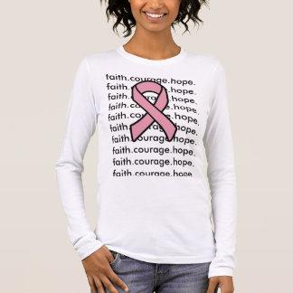 Fé da fita de câncer de mama camiseta manga longa