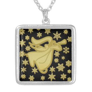 Fé do floco de neve do ouro do anjo colar com pendente quadrado