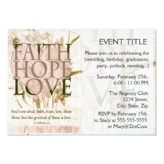 Fé, esperança e amor convite 12.7 x 17.78cm