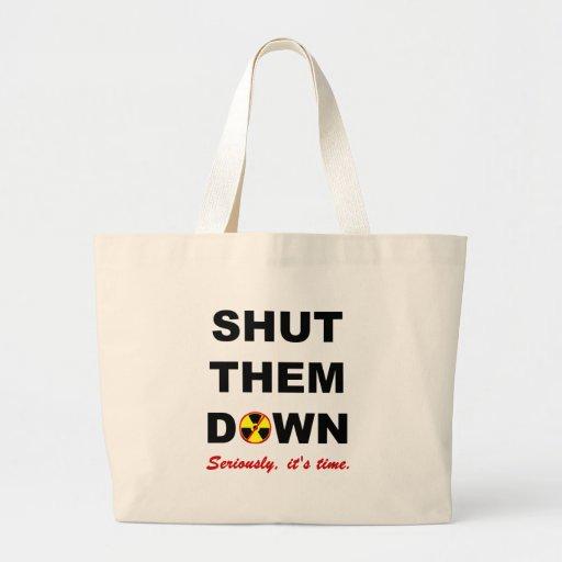 Fechado lhes abaixo do slogan das Anti-Armas nucle Bolsas Para Compras