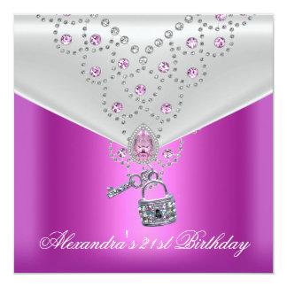 Fechamento cor-de-rosa Overlay 2 da chave da jóia Convite Quadrado 13.35 X 13.35cm