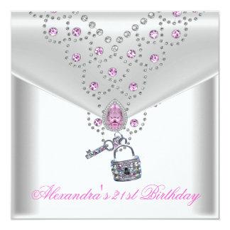 Fechamento cor-de-rosa Overlay da chave da jóia do Convite Quadrado 13.35 X 13.35cm