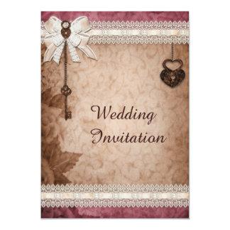 Fechamentos românticos e chaves dos corações do convite 12.7 x 17.78cm