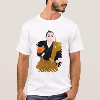 Feche acima da boneca masculina japonesa que camiseta