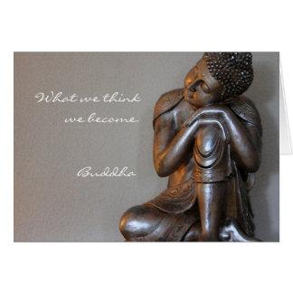 Feche acima de Buddha de prata calmo Cartão Comemorativo
