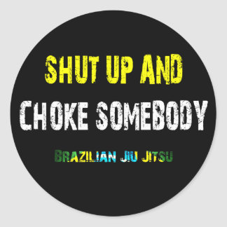 Feche acima e bloqueie alguém - etiqueta de BJJ Adesivo Em Formato Redondo