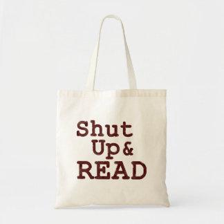 Feche acima e leia o saco de livro sacola tote budget