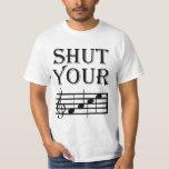Feche seu humor da música da cara tshirts