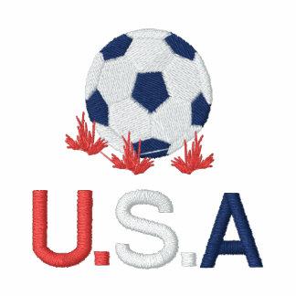 Fecho de correr bordado futebol Hoody dos EUA Moletom Bordado