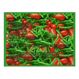Feijão verde e cartão da receita dos tomates