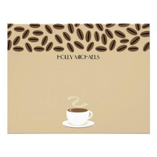 Feijões de café & chávena de café Notecards liso Convite Personalizados