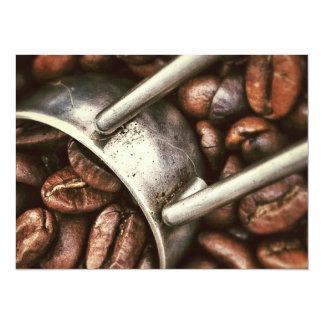 Feijões e colher de café convite 13.97 x 19.05cm