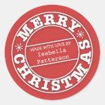 Feito com amor da etiqueta do Feliz Natal Adesivo Redondo
