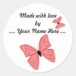 Feito com etiqueta da borboleta do amor adesivos