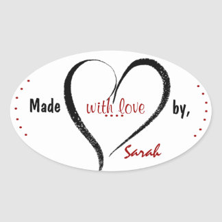 Feito com etiquetas do costume do amor adesivo oval