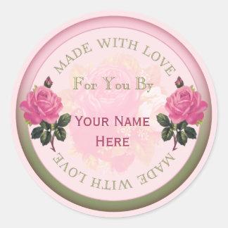 Feito com selos personalizados amor, rosas das adesivo redondo