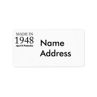 Feito em 1948 etiqueta de endereço