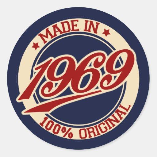 Feito em 1969 adesivo em formato redondo