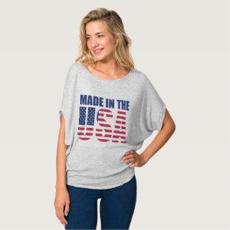 Feito na camisa redonda das mulheres dos EUA
