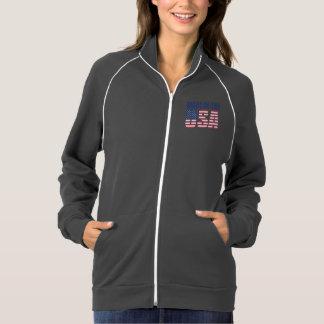 Feito na jaqueta da trilha do velo dos EUA