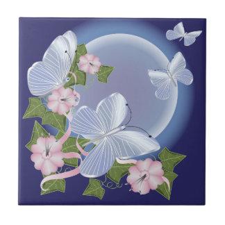 Feixes da lua da borboleta azulejo de cerâmica