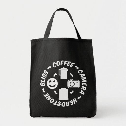 Felicidade do Headstone da câmera do café Bolsas Para Compras