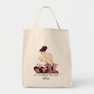 Felicidade francesa da imagem da forma do art deco sacola tote de mercado