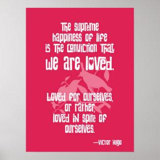 Felicidade suprema. Citações de Victor Hugo Impressão