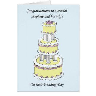 Felicitações do casamento do sobrinho e da esposa cartão comemorativo
