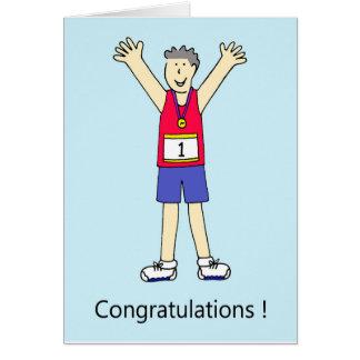 Felicitações do homem do corredor de maratona cartão comemorativo