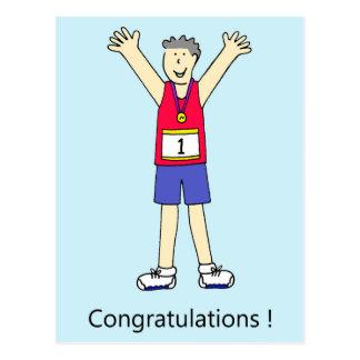 Felicitações do homem do corredor de maratona cartão postal