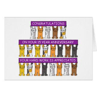 felicitações do trabalho de um aniversário de 15 cartão comemorativo