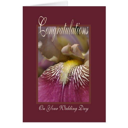 Felicitações em seu dia do casamento - flor da cartões